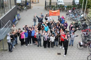 scholieren op het schoolplein